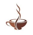 Stylish cup of steaming cappuccino coffee vector image