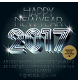 Silver futuristic Happy New Year greeting card vector image