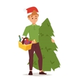Christmas shopping people vector image vector image