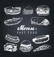 fast food menu in  burgers hot dogs vector image