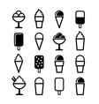 Ice Cream Icons Set on White Background vector image