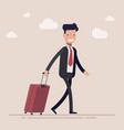 businessman or a manager comes with a suitcase for vector image