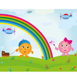 children rainbow cartoon vector image