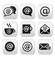 Email internet cafe wifi buttons set vector image