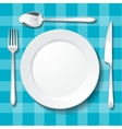 Table appointments Empty plate on blue tablecloth vector image