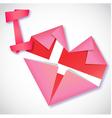 Origami paper I love Denmark heart card vector image