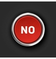 NO button 3d red glossy metallic icon vector image