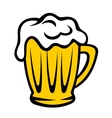 Golden tankard of beer with a frothy head vector image vector image