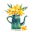 Watercolor hand drawn coffeepot with flowers vector image