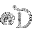 letter D decorated in the style of mehndi vector image vector image