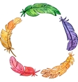 round frame with watercolor feathers vector image