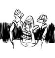 cartoon sketch of scared man vector image