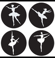 Dancing ballerina silhouettes vector image