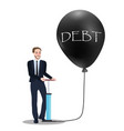 debt problem concept of pumping baloon economic vector image