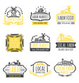 hand drawn farm market organic food labels set vector image