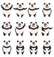 Set of flat panda icons vector image