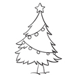 Christmas tree outline vector image