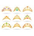 princess golden tiaras with diamonds vector image