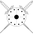 Shield and two crossed swords vector image