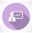 businessman about statistics icon vector image