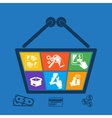 Shopping basket with icons of online e-commerce vector image