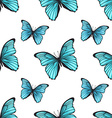 Seamless pattern with bright blue butterflies vector image