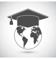 Graduation Cap and World Globe Icon vector image