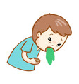Ill man vomiting cartoon vector image