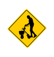 People with rollator warning sign vector image