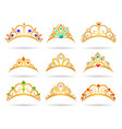 princess golden tiaras with diamonds vector image