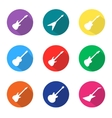 set of guitar flat icons vector image