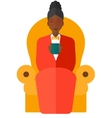 Woman sitting in chair with cup of tea vector image