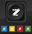 Pocket knife icon symbol Set of five colorful vector image