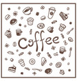 coffee doodles set vector image