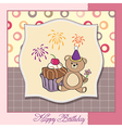 birthday greeting card with girl and big cupcake vector image