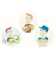 Set of funny cartoon courier vector image