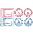 usa famous cities stamps vector image vector image