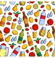Fruits and cold drinks seamless pattern vector image