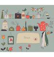 Kitchen shelf vintage background vector image
