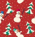 Seamless Christmas pattern with snowman vector image