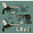 Love guns set Vintage emblems with gun shooting a vector image vector image