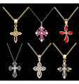 set gold cross pendant vector image vector image