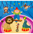 arena in circus with animal and clown vector image