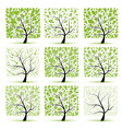 Art tree collection for your design vector image vector image