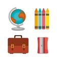 bag crayons sharperner globe design vector image