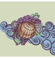Seashell in waves vector image