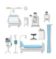 set with medical furniture and equipment vector image