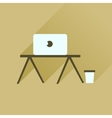 Flat icon with long shadow laptop table vector image