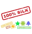 100 Percent Silk Rubber Stamp vector image