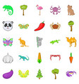 australian animals icons set cartoon style vector image